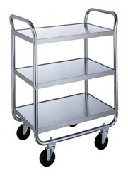 Utility Cart Stainless Steel: 3 shelf; 18
