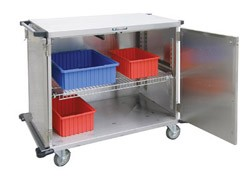 "Stainless Steel Closed Cart, Two Door: SOLID S/S Shelf Width: 31-3/8"": 43-1/2"" W x 29"" D x 55"""