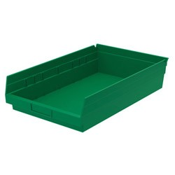 "Optional Shelf Bin: Sold in Qty/12 Inner: 16-1/2"" x 10"" x 4"" Color: Green"