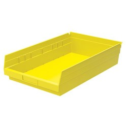 "Optional Shelf Bin: Qty/12. Inner: 16-1/2"" x 10"" x 4"" Color: Yellow"