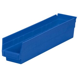 "Optional Shelf Bin: Qty/12. Inner: 16-1/2"" x 3"" x 4"" Color: Blue"