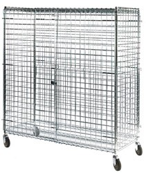 "Square Post Wire Security Carts: Dimensions: 24"" D x 48"" L x 70"" H"