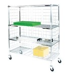 Square Post Enclosed Wire Carts: 3-Sided Cart; Dimensions: 24
