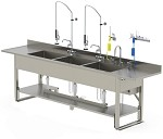Pipe Base Processing Sink Dual Bay